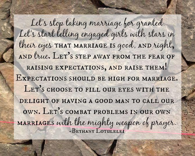 Let's Stop Discouraging Marriage // Dandelion Pie // Bethany Lotulelei