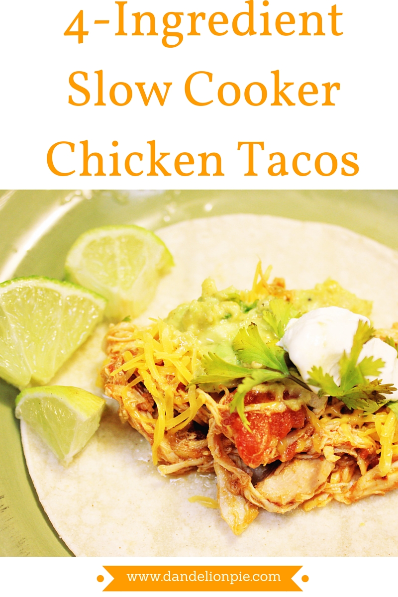 4-Ingredient Slow Cooker Chicken Tacos #recipe #taco #slowcooker #crockpot #easy #chickentaco #chickenthigh #budgetfriendly #budgetmeal