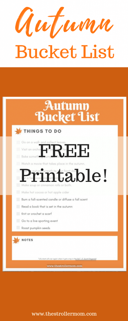 Autumn Bucket List Free Printable